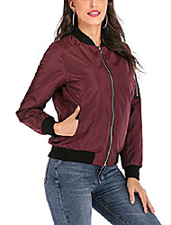 cheap -women's reversible bomber jacket quilted coat zip up padded outerwear (medium, red)