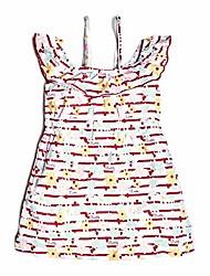 cheap -girls' little sleeveless ruffle graphic dress, flowers pink/white, 4