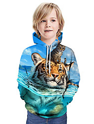 cheap -Kids Boys' Active Tiger Cat 3D Graphic Animal Print Long Sleeve Hoodie & Sweatshirt Blue