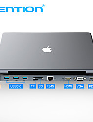 cheap -Vention All-in-1 USB C to HDMI VGA Converter USB 3.0 HUB SD/TF Card Reader 3.5mm Jack PD RJ45 Adapter For MacBook USB Type C HUB