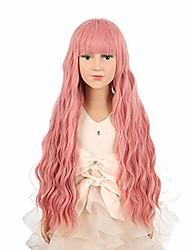 cheap -child kid long wavy curly pink wig with bangs for cosplay halloween party costume synthetic rose net wig for girls (pink)