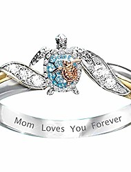 cheap -turtle statement ring mom loves you forever, diamond microinlaid zircon female ring jewelry, health and longevity sea turtle birthstone ring, women girls mother day gift jewelry (ring size: 10)