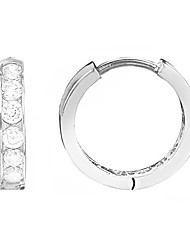 cheap -sterling silver channel-set cubic zirconia cz huggie hoop earrings (13mm, 14.5mm) ((small) 2x11mm)