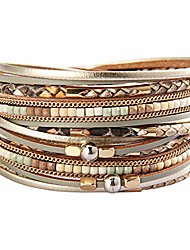 cheap -leather wrap bracelet multi strands leopard print wrap around leather cuff bracelets beige magnetic clasp jewelry gift for women girls
