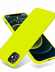 cheap -compatible with iphone 12 case and iphone 12 pro case 6.1 inch(2020),[silky and soft touch series] premium soft liquid silicone rubber full-body protective bumper case (fluorescent yellow)