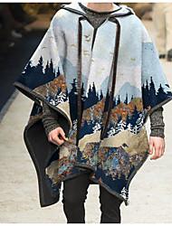 cheap -Women's Fall & Winter Coat Long Print Daily Streetwear Print Light Blue S M L XL / Loose