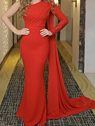 cheap -Mermaid / Trumpet Celebrity Style Sexy Wedding Guest Formal Evening Dress One Shoulder Long Sleeve Court Train Chiffon with Sleek 2020