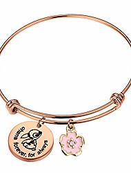 cheap -ohana bracelet ohana forever for always ohana jewelry with hibiscus flower charm (ohana rold bracelet)