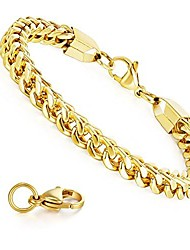 cheap -6mm wide curb chain bracelet for men women stainless steel high polished, women's men's jewelry gift gold color 8.0inch