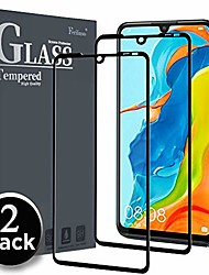 cheap -screen protector for huawei p30 lite, [2 pack] [full glue] [full cover] tempered glass case friendly protective film (black)