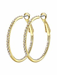 cheap -1 pair hoop earrings for women - 14k gold plated hypoallergenic lightweight cz big hoop earrings set(35mm), gold