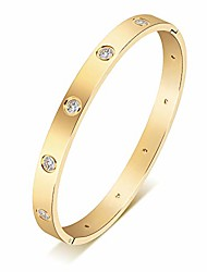 cheap -18k gold plated cz stainless steel with crystal bangle cuff love bracelets for women girls jewelry (gold, 16)