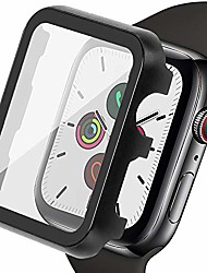 cheap -ritastar for apple watch screen protector 44mm with metal cover bumper case with pet film,high sensitive touch,impact resistant,air bubble free,full coverage for iwatch series 6 se 5,4 women men,black
