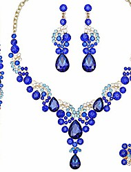 cheap -elegant necklace earrings bracelet ring bridal austrian crystal jewelry sets brides wedding costume accessories gifts for women (royal blue)
