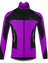 cheap -Men's Cycling Jacket Winter Fleece Bike Jacket Top Thermal Warm Windproof Breathable Sports Patchwork Violet / Navy / Green / Black Mountain Bike MTB Clothing Apparel Loose Bike Wear / Long Sleeve