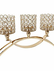 cheap -crystal candle holders stand with 3 candelabras for coffee table living room and dinning room table decorative centerpieces (gold cylinder)