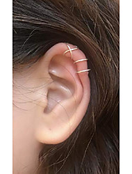 cheap -14k gold filled 2pcs simple line ear cuff non piercing clip on cartilage earrings for men women silver/gold/rose color double&criss cross ear cuffs