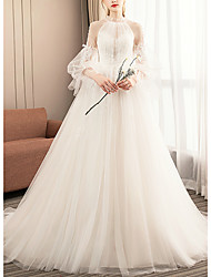 cheap -Ball Gown Wedding Dresses Jewel Neck Court Train Tulle Long Sleeve Formal Romantic with Pleats Appliques 2021