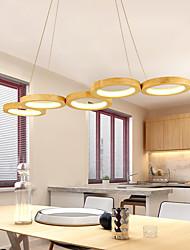 cheap -75cm 96cm LED Pendant Light Modern Nordic Wood Circle Design Acrylic Painted Finishes 110-120V 220-240V