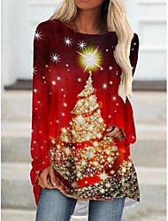 cheap -Women's T Shirt Dress Tee Dress Short Mini Dress - Long Sleeve Print Print Fall Casual Christmas 2020 Red S M L XL XXL 3XL 4XL 5XL