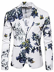 cheap -mens dress floral suit slim fit single breasted stylish casual printed blazer jacket white