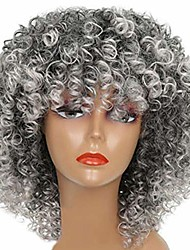 cheap -afro grey short curly wig women heat resistant hair extension hairpiece natural hairline party fashion hairpiece heat resistant wig grey