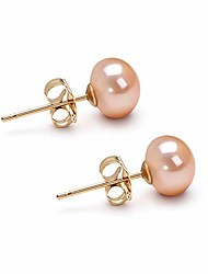 cheap -10mm pink freshwater cultured pearl earrings stud for women with 925 sterling silver settings and jewelry gift box