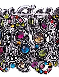 cheap -women's flower stretch cuff bracelet fit wrist size 6-1/2 to 7-1/2 inch - comfortable elastic band & floral pattern crystal jewelry - lead & nickle free - halloween costume outfit