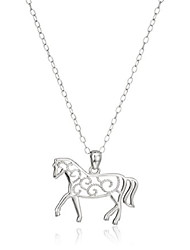 cheap -sterling silver filigree horse pendant necklace, 18""