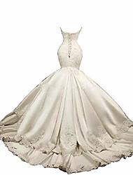 cheap -retro mermaid white/ivory wedding dress lace satin bridal gown corset