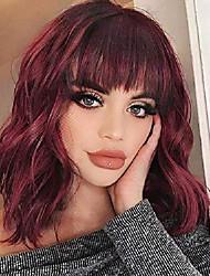 cheap -black wavy wig with bangs mixed brown hair short wavy hair wig natural body wave hair bob wigs natural looking heat resistant fiber hair for women 10 inches 1b/30#