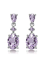 cheap -sterling silver amethyst oval three stone dangling stud earrings