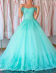 cheap -Ball Gown Elegant Luxurious Quinceanera Engagement Dress Strapless Sleeveless Floor Length Tulle with Appliques 2020