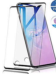 cheap -2 Pack Full Curved Tempered Glass Screen Protector For Samsung Galaxy S20 Ultra Fingerprint Support Anti-fingerprint For Samsung Galaxy S10 Lite/S10 5G/S20 5G Screen Protector