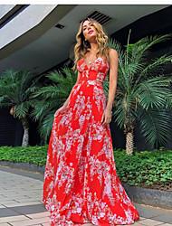 baratos -Mulheres Vestido De Alça Vestido maxi longo Vermelho Sem Manga Floral Estampado Outono Elegante Casual vestidos de férias 2021 S M L XL