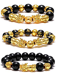 cheap -Feng Shui Pixiu Black Obsidian Wealth Bracelet Color Change Gold Plated Adjustable Handmade Braided Rope Lucky Jwelry