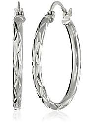 cheap -sterling silver 2.5x30 starburst diamond-cut click top hoop earrings
