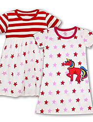 cheap -girls dress short sleeve nightgowns cinch waist 100% cotton casual dress summer t-shirt dresses unicorn pajamas skirt size m(5-6 years)
