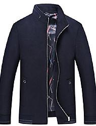 cheap -men's basic band collar full zip mid-weight  blend pea coats