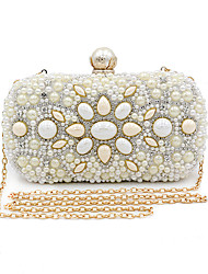 cheap -Women's Bags Polyester Alloy Evening Bag Buttons Crystals Pearl Rhinestone Wedding Bags Wedding Party Beige