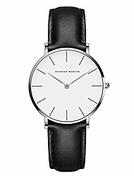cheap -hannah martin women fashion slim analog watch japanese quartz movement 30 m waterproof black leather band large simple dial
