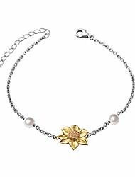 cheap -s925 sterling silver sunflower with cz bracelet for women (bracelet)