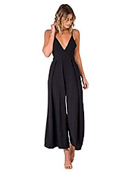 cheap -women's low cut v neck adjustable strap backless pleated wide leg jumpsuit (small, black)