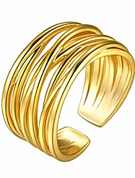 cheap -12mm crossover statement ring, 18k gold plated adjustable chunky rings for women/men