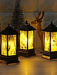 cheap -christmas snowman fire trees lantern decoration vintage – red decorative holiday table centerpiece or hanging lantern for pillar candle or led light indoor use (led lights, 3pcs)