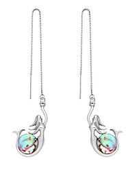 cheap -mermaid play with blue green abalone shell ball dangle earrings (abalone shell earline, rhodium-plated-base-metal)