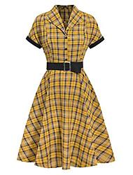 cheap -women's black yellow check shirt collar office work vintage dress s
