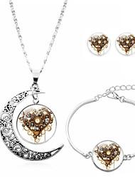 cheap -jewelry set cross-border accessories, steampunk heart earrings, bracelet, half moon necklace, jewelry set, jewelry
