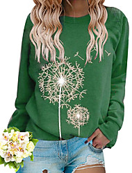 cheap -Women's Pullover Sweatshirt Dandelion Daily Going out Basic Casual Hoodies Sweatshirts  Loose Black Red Wine