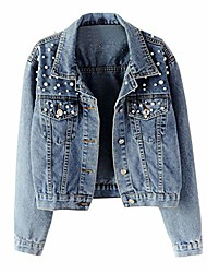 cheap -short outwear coat women's blue long sleeve denim jacket pocket solid beading casual outwear coat